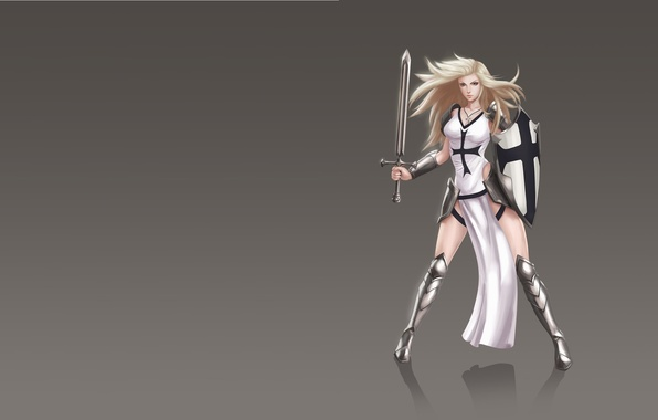 Photo wallpaper girl, weapons, sword, art, fantasy, shield, knight