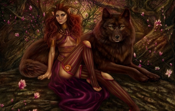 Picture forest, girl, trees, flowers, wolf, predator, the demon, art, horns, red, demoness