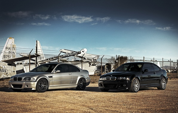 Picture the sky, clouds, black, bmw, BMW, silver, aircraft, black, silvery, e46