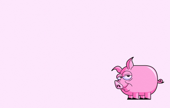 Picture pink, minimalism, tail, pig, pig