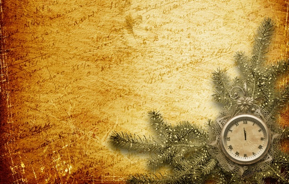 Picture background, holiday, watch, new year, spruce, branch, gold, new year, words, midnight