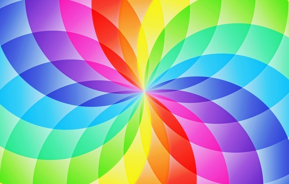 Picture flower, abstraction, pattern, round, rainbow, petals, sector