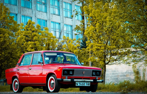 Picture retro, background, Wallpaper, red, classic, legend, Lada, Lada, vaz, VAZ, 2106, Schoch, Lada