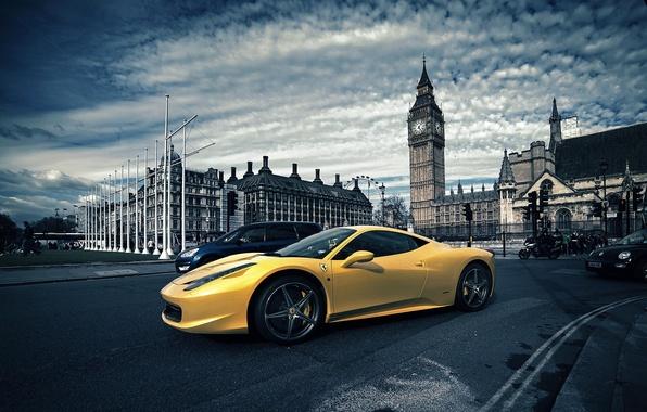 Picture London, Ferrari, Yellow, Italy, Ferrari, 458, Big Ben, London, Italia