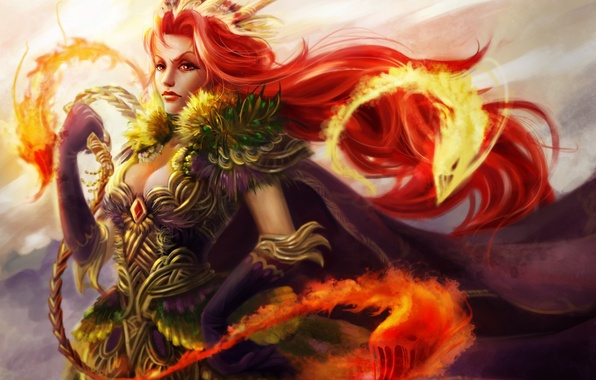 Picture girl, fire, magic, monsters, creatures, red, whip