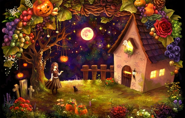 Picture cat, cat, stars, night, house, the moon, crosses, harvest, girl, pumpkin, hut, fruit, vegetables, halloween, …