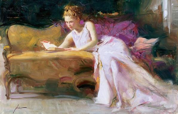 Picture girl, sofa, picture, dress, art, blonde, book, Pino Dangelico