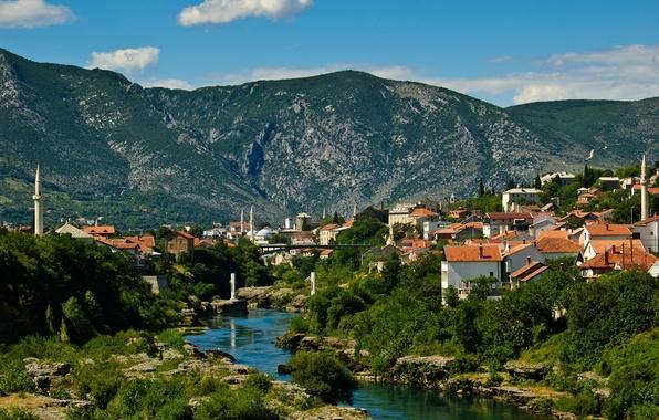 Picture landscape, mountains, building, Bosnia and Herzegovina, Mostar, the Neretva river, Mostar, Neretva River, Bosnia and …