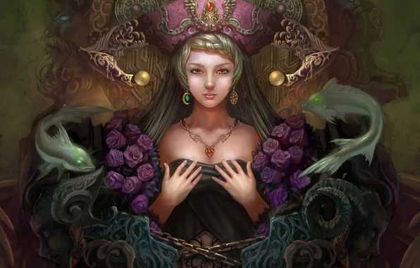 Picture girl, decoration, fish, roses, hands, fantasy, art, chain, Yuxuan Li