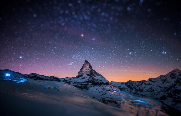 Picture stars, snow, mountains, night, rock, glare, rocks, mountain, Alps, top, peak, tilt-shift, Matterhorn