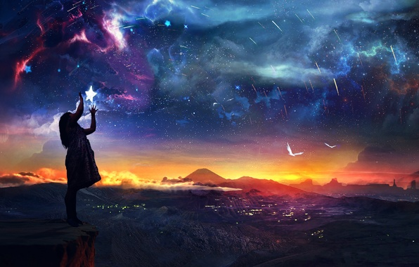 Picture the sky, stars, landscape, sunset, rock, open, girl