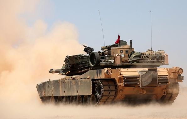 Picture dust, tank, combat, M1A1, Abrams, main