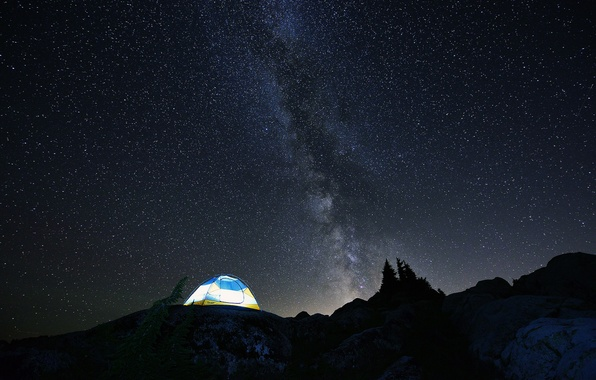 Wallpaper The Sky, Stars, Mountains, Night, Tent, The