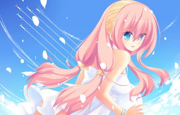 Picture the sky, girl, clouds, petals, art, Vocaloid, Vocaloid, Megurine Luka, liong