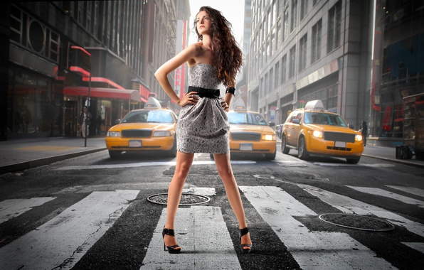 Picture look, girl, machine, dress, the transition, taxi, brown hair, curls, long-haired