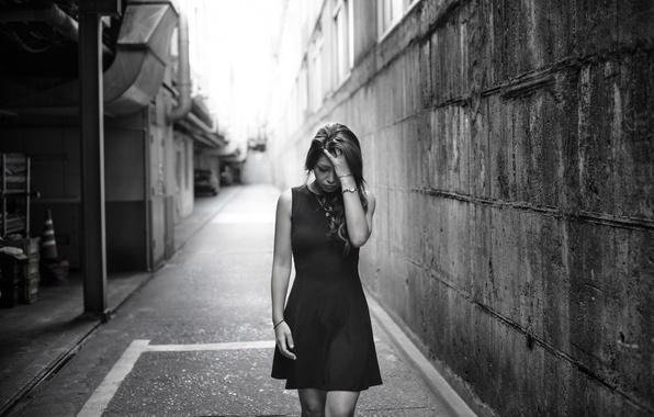 Picture girl, the city, despair, dress, girl, gait