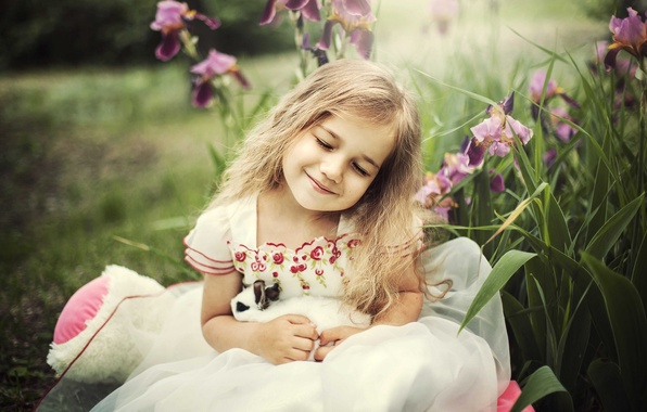 Picture joy, happiness, rabbit, girl, iris