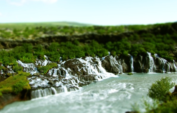 Photo wallpaper boulders, tilt shift, tilt shift, nature, river, waterfalls