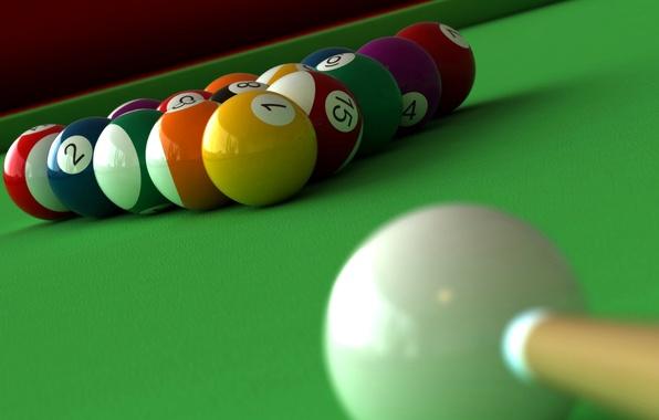 Picture table, ball, Billiards, cue