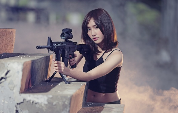 Picture girl, weapons, Asian