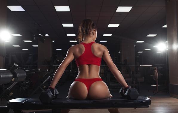 Picture hot, sexy, ass, model, butt, workout, fitness, dumbbells