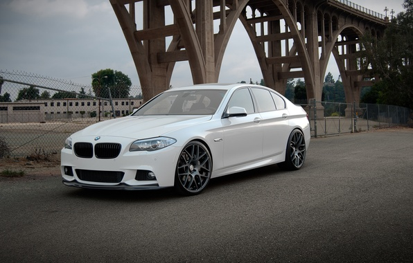Picture white, bridge, BMW, BMW, white, F10, 550i