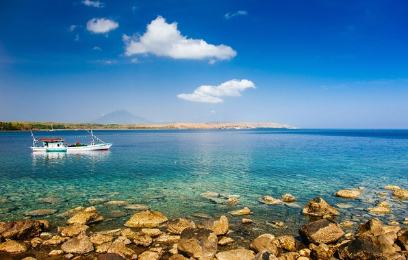 Picture summer, the sky, clouds, mountains, rocks, coast, boat, fisherman, Bay, reef, solar