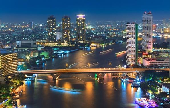 Picture night, bridge, the city, lights, river, boats, excerpt, Thailand, Bangkok, Bangkok, By Noom HH