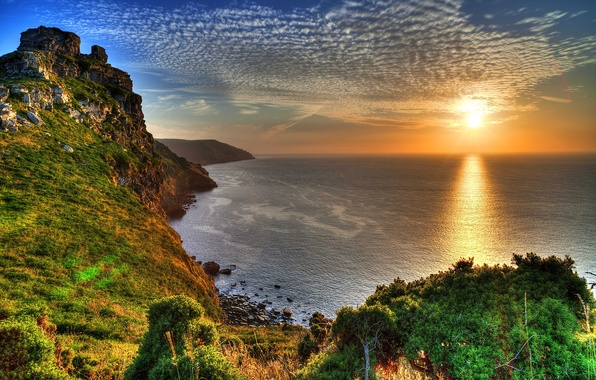 Picture sea, the sky, the sun, rays, sunset, stones, rocks, coast, England, beauty, horizon, Exmoor National ...