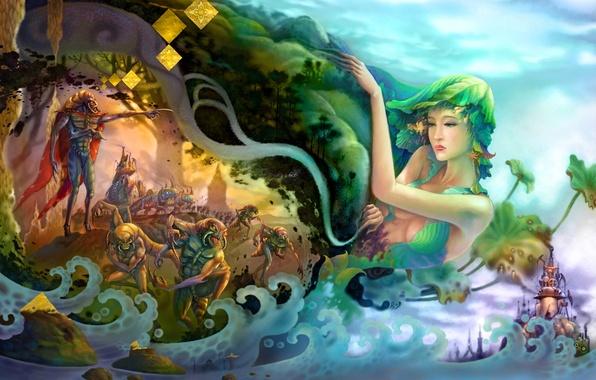 Picture sea, wave, girl, surrealism, plants, art, monsters