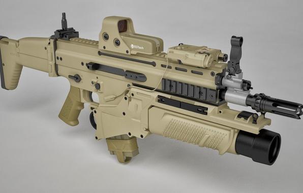 Picture gun, weapon, rifle, assault rifle, FN Scar, ordnance, FN Herstal Belgium, cal 7.62, grenade launcher, …