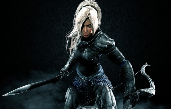 Picture sword, dark, armor, woman, The Elder Scrolls V: Skyrim, bow, warrior