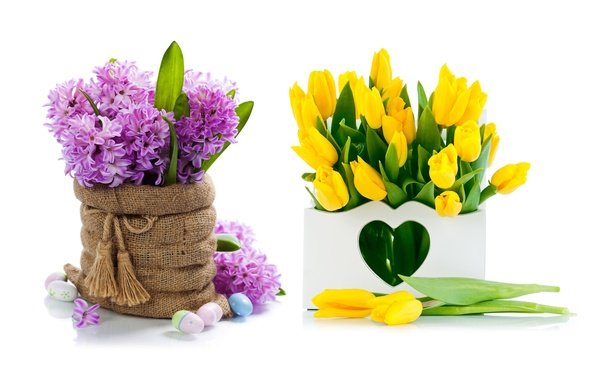 Picture flowers, eggs, bouquet, yellow, tulips, flowers, tulips, spring, easter, hyacinths, lilac
