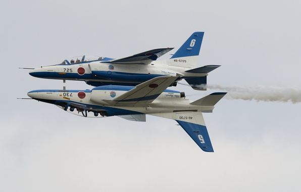 Picture holiday, group, pair, show, flight, Blue Impulse, Kawasaki T-4