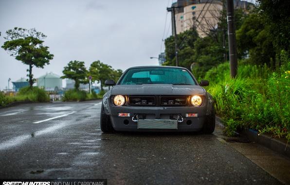 Picture car, drops, rain, nissan, puddles, tuning, silvia, Boss, S14, Rocket Bunny, Miura's V2 Rocket Bunny ...