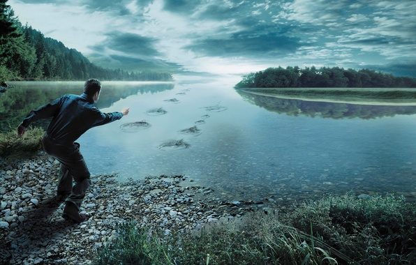 Picture forest, the sky, grass, clouds, river, stones, people, male