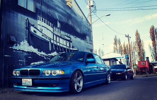 Picture road, tuning, bmw, BMW, blue, e38, stance, 750il