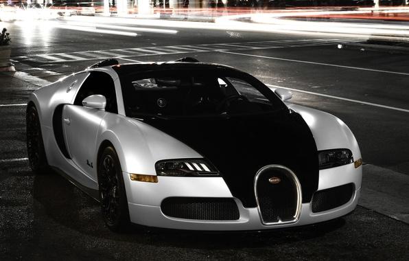 Picture city, Bugatti, veyron, light, white, supercar, black, night