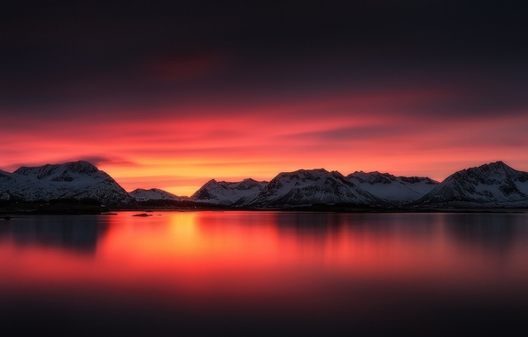 Picture snow, sunset, mountains, lake