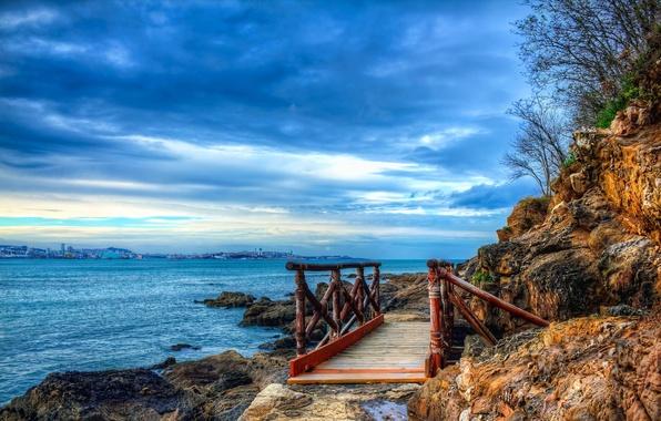 Picture sea, the sky, clouds, the city, rocks, Bay, the bridge, Spain, spain, la coruna