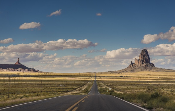 Picture road, the sky, clouds, border, AZ, Utah, cars, power lines, Monument valley, United States