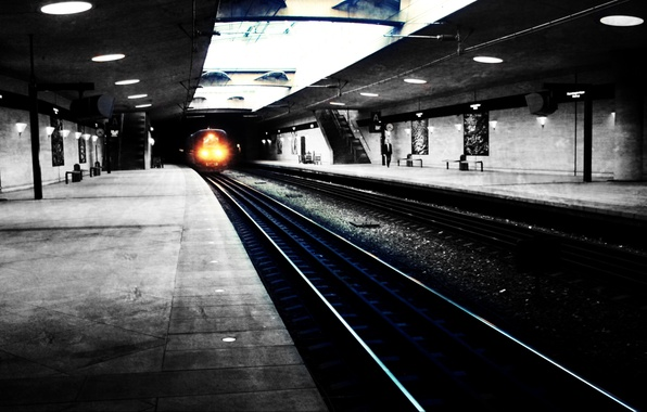 Picture light, the way, city, the city, rails, train, Metro, wallpapers, subway