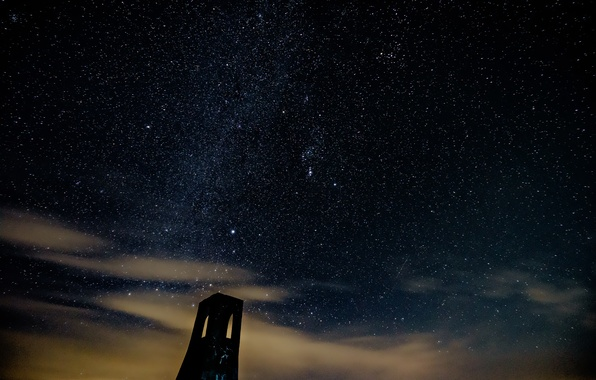 Picture space, stars, night, tower
