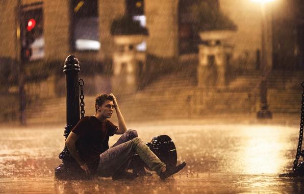 Picture rain, mood, street, guy