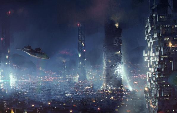 Picture the city, fiction, cyberpunk, aircraft, art, square enix, deus ex, eidos montreal, Deus Ex: Mankind …