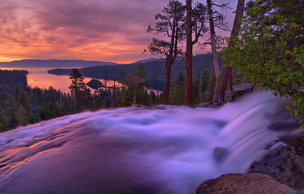 Picture the sky, trees, landscape, sunset, mountains, nature, lake, photo, dawn, waterfall