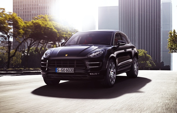 Picture Auto, Road, Black, The city, Porsche, Machine, Light, Lights, Porsche, SUV, The front, Macan