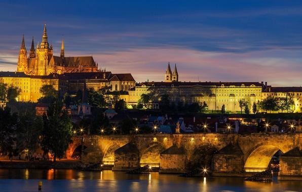 Picture sunset, the city, lights, river, castle, the evening, Prague, Czech Republic, lighting, architecture, Prague, Vltava, …