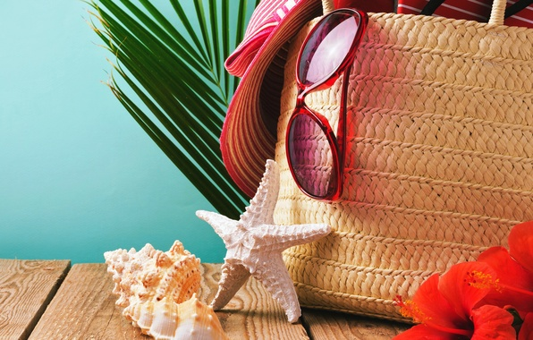 Picture sand, beach, summer, hat, glasses, shell, summer, beach, sand, vacation, starfish, accessories, seashells