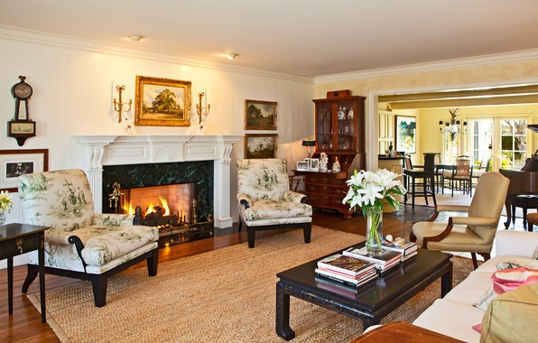 Picture house, table, room, fire, Wallpaper, Villa, interior, picture, chair, wallpaper, fireplace, piano, Suite